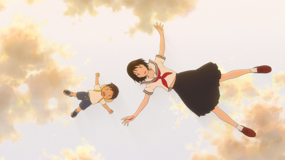Screenshot from Mirai: a young boy and a teenaged girl float down from the clouds above, both with their arms and legs spread out like a starfish.