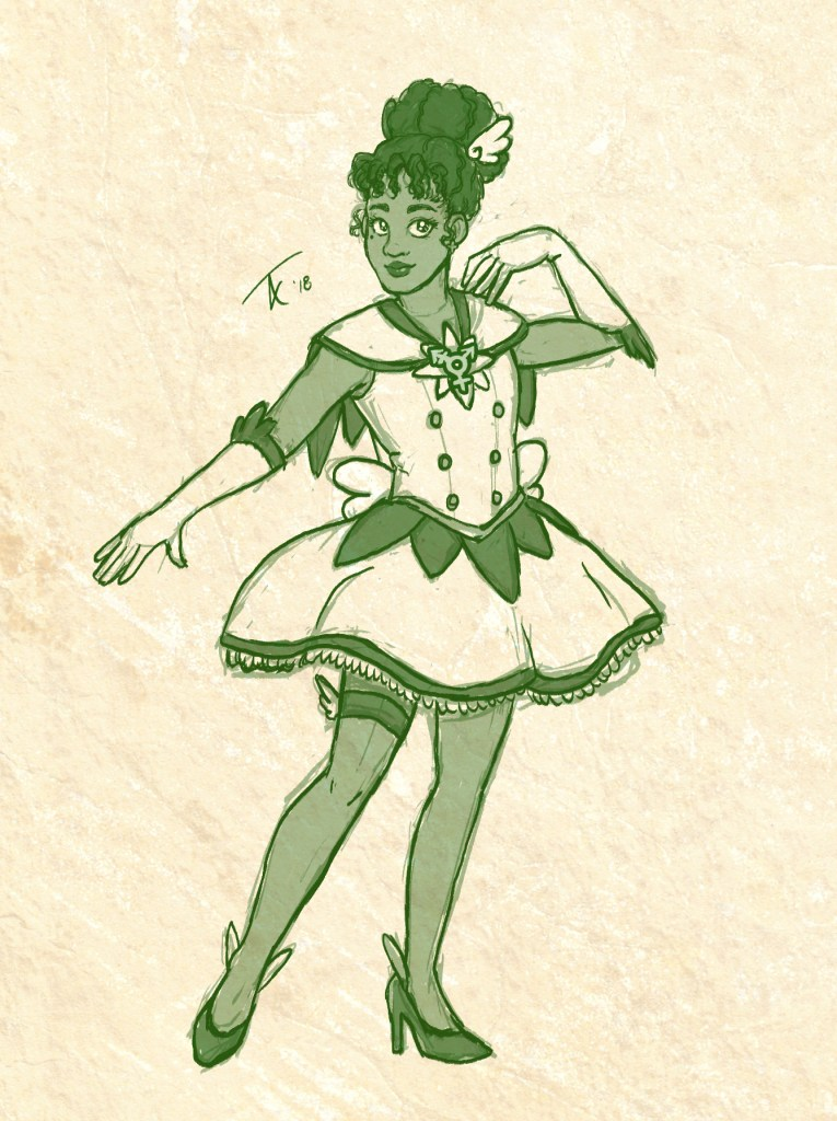 Drawing of a Black woman in a magical girl outfit with a trans symbol at her collar.