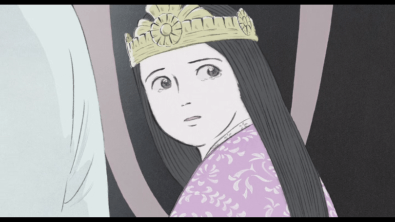 Princess Kaguya looking over her shoulder, uncertain