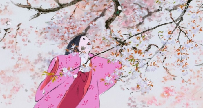 Kaguya, in her fine robes, laughs joyfully beneath a blooming cherry blossom tree