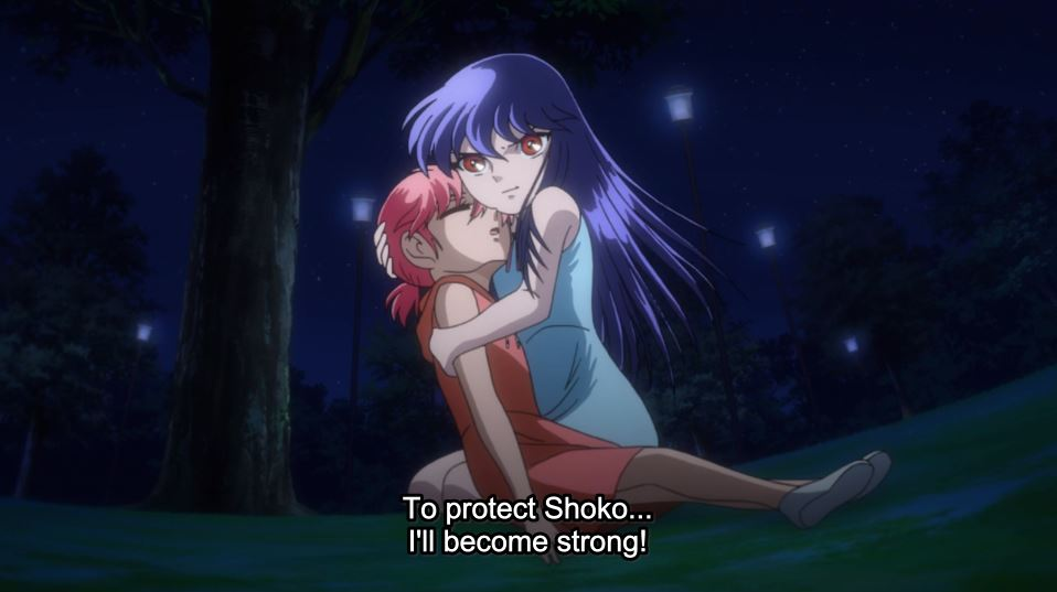 A dark haired young girl holding her unconscious little sister. subtitle: To protect Shoko... I'll become strong