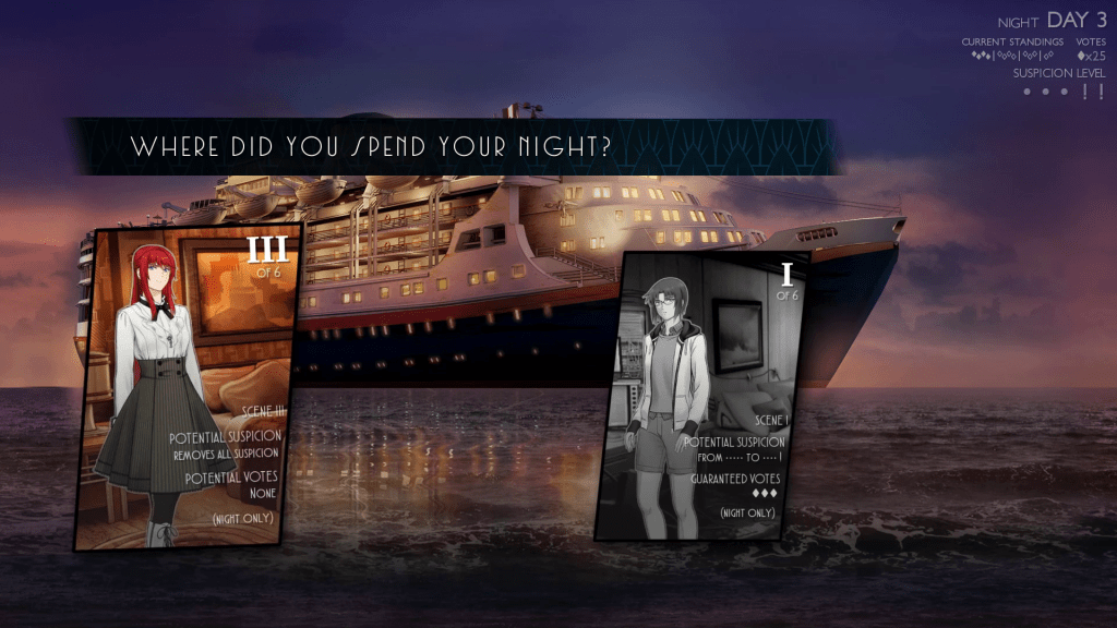 Images of The Beauty and The Stalker over a background of a cruise ship. text: Where did you spend your night?