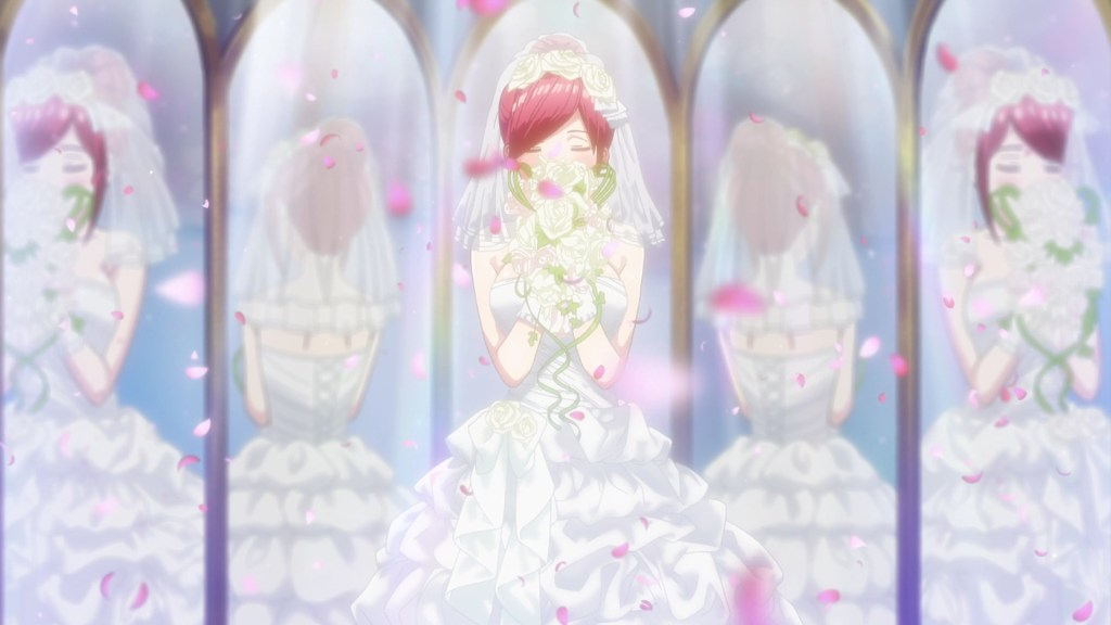 A woman with red hair in a white wedding dress holds up a bouquet of roses to her face. She stands in front of five mirrors, each reflecting a different side of her.