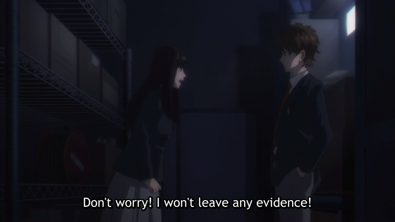 "A long-haired girl in a school uniform shouts at a boy ""Don't worry! I won't leave any evidence!"""