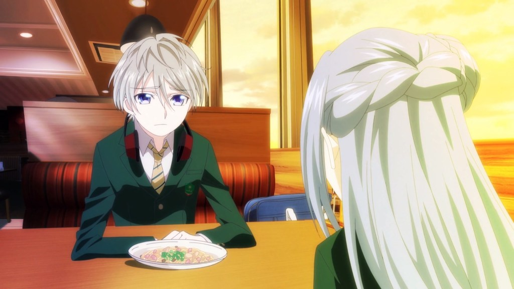 A boy sits across from a girl in a sunset-lit restaurant. He's leaning forward over the table, but the perspective is all wrong, and it looks like his abdomen has caved in