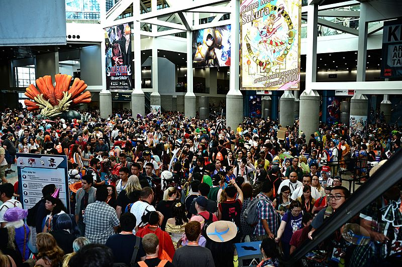 Anime Expo 2016's South Hall Lobby, crowded with attendees