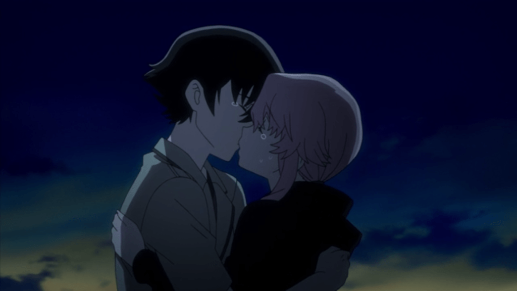 Yuki and Yuno kissing as the sun rises