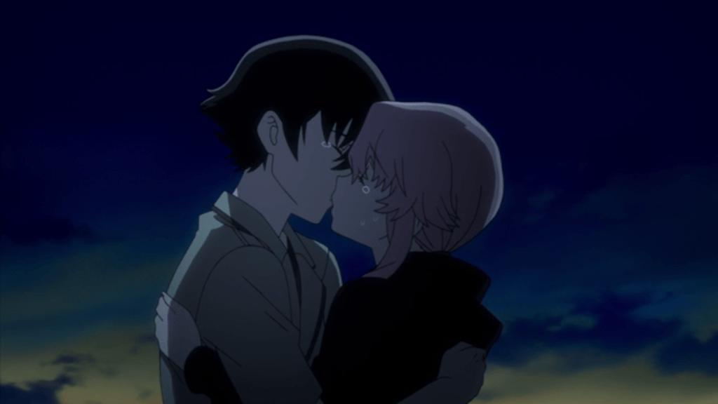 Yuki and Yuno kissing as the sun rises