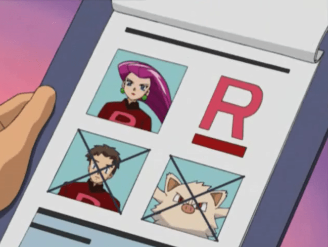 A page on a clipboard showing Jessie, an unknown young man, and a Mankee. The man and Mankee have X's across their faces.
