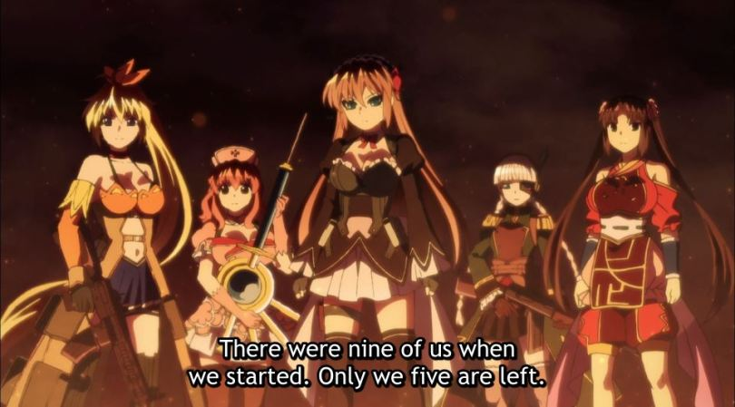 "A group of magical girls stands on a precipice. Subtitles say ""There were nine of us when we started. Only we five are left."""