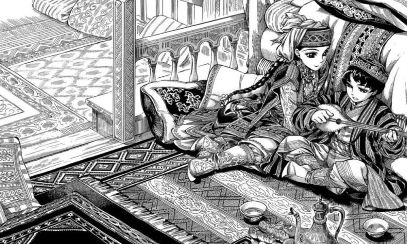 A two-page spread, done in lavish detail, of Amir and Karluk sitting on rugs in an open-air patio area. Karluk is playing an instrument while Amir sits next to him, watching.
