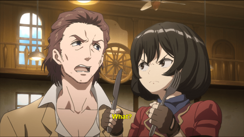 A scoffing man staring at a young women holding a knife and fork threateningly