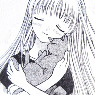 Tohru hugs a cat, eyes closed and smiling slightly