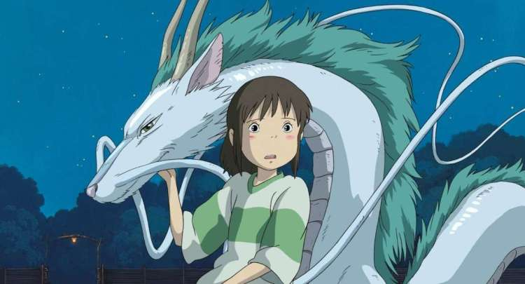 A young girl with a ponytail standing with her hand on a long silver-blue dragon with a green mane