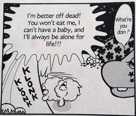 Panel of Pelu lamenting that he's better off dead without a baby