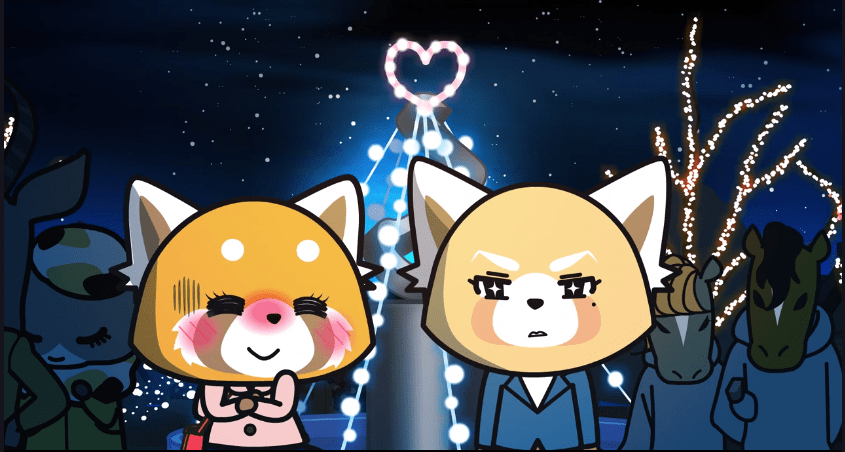 Retsuko blushing and imagining Resasuke as cool and stoic-looking