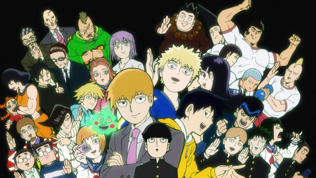 A group shot of the cast of Mob Psycho. Mob stands at the center with Reigen, and his brother most prominently above him, with many other characters fanning out around them, slightly smaller