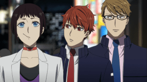 Miyako walking down the street with Seo and Sakaki on either side of him
