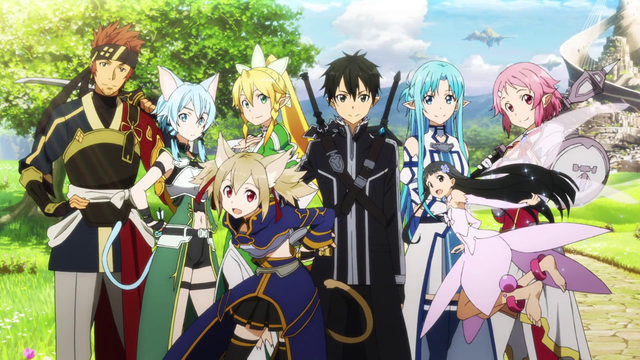 A group shot of the main characters of SAO season two