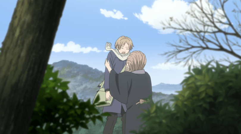 Natsume flinching from someone grabbing his shoulders