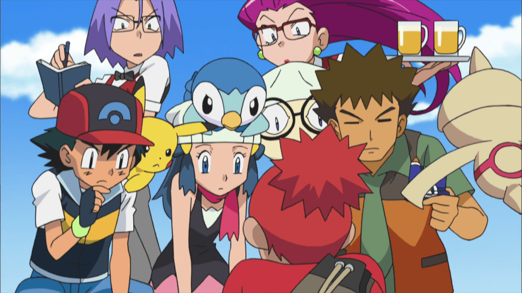 The cast of Diamond and Pearl (Ash, Dawn, Brock, and Team Rocket) stand in front of a spiky-haired redhead and look down intently at something on the ground in front of them