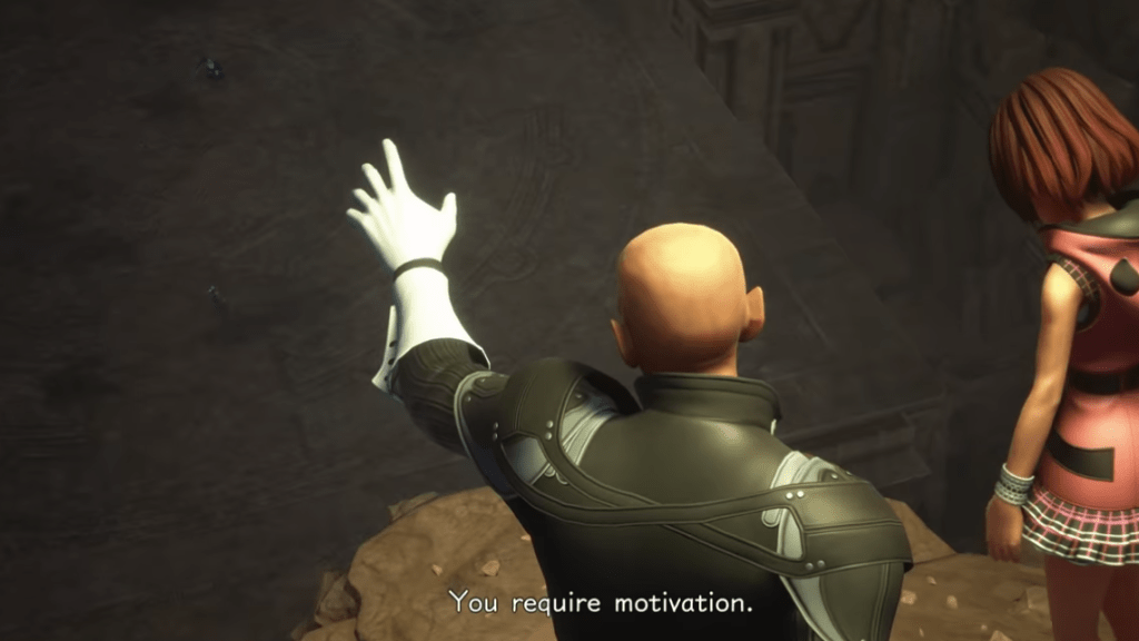 "Xehanort from behind, standing on a cliff, one hand outstretched. Kairi floats next to him. Subtitles read ""You require motivation."""