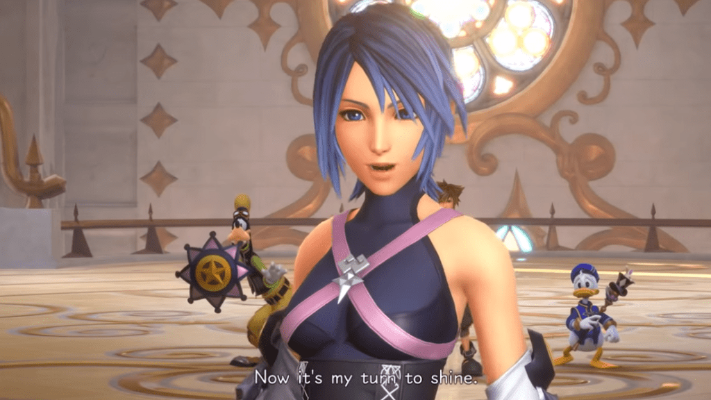 "Aqua looking confident as she says ""This time, it's my turn to shine"""