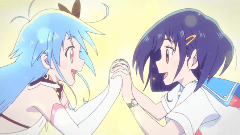 Cocona and a transformed Papika with fingers entwined, looking overjoyed to have found each other