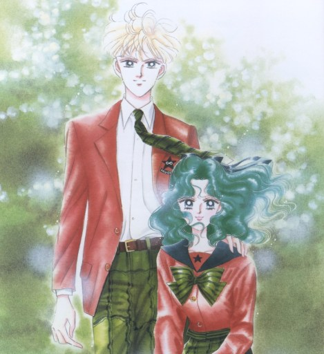 Haruka and Michiru in their school uniforms. Haruka's hand is on Michiru's shoulder.