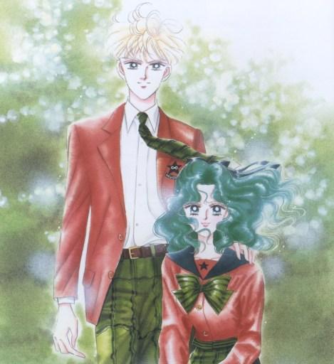 Haruka and Michiru in their school uniforms. Haruka's hand is on Michiru's shoulder.