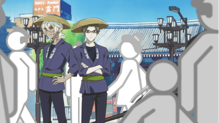 Reo and Mabu from SARAZANMAI, now dressed as rickshaw pullers rather than cops
