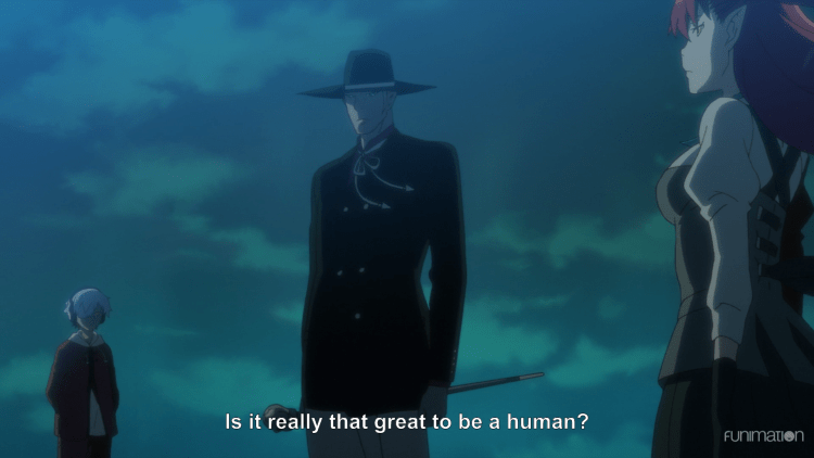 the three monster leads standing equidistant from each other. subtitle:Is it really that great to be human?
