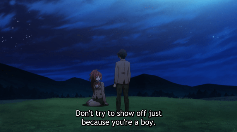 A seated Rin scolding Taichi. subtitle: Don't try to show off just because you're a boy.