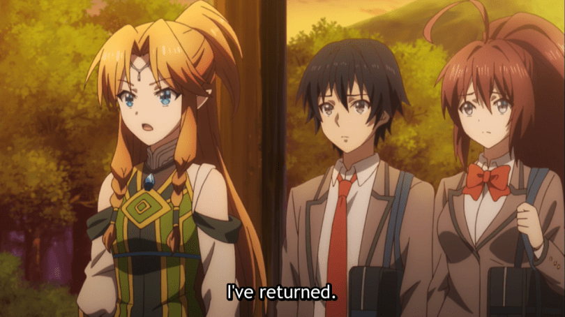 A blonde woman in fantasy clothes standing next to two teens in school uniforms. subtitle: I've returned