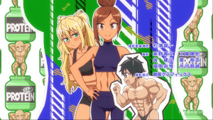 A girl with a six pack standing with her hands on her hips while Hibiki covers her stomach in embarrassment
