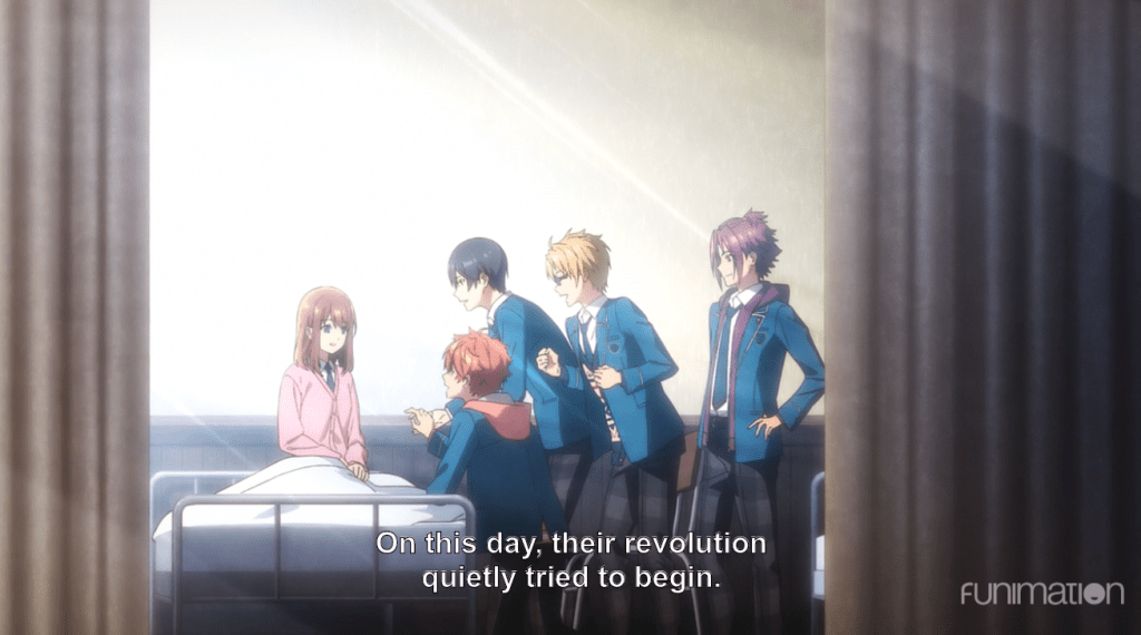 The four leads crowding around Anzu's hospital bed. subtitle: On this day, their revolution quietly tried to begin.