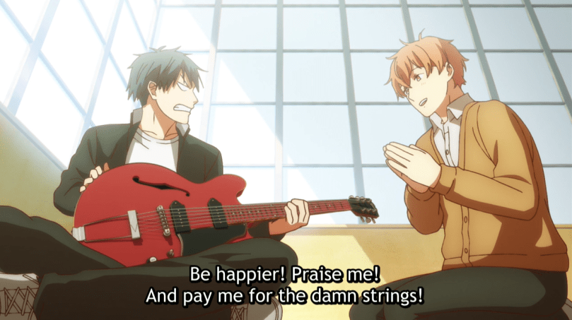 Ritsuka grumping at an impressed-looking Mafuyu. subtitle: Be happier! Praise me! And pay me for the damn strings!