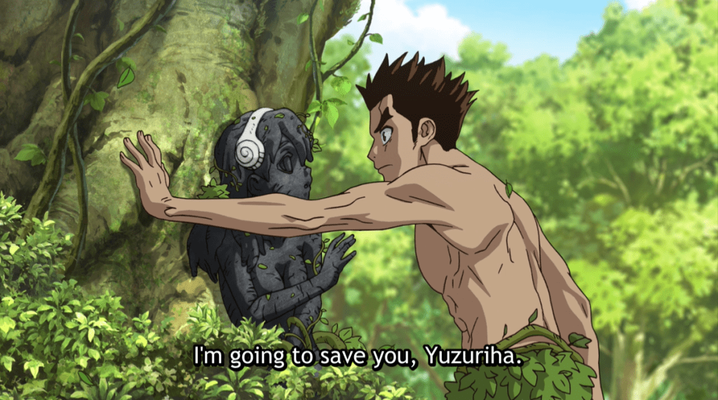 Taiju staring intently at stone Yuzuriha, who's balanced by a large tree. subtitle:  I'm going to save you, Yuzuriha