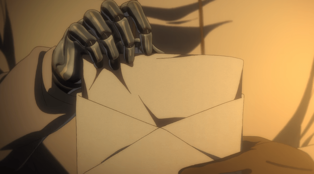 Violet puts a letter into an envelope, her metal prosthetic clearly visible.