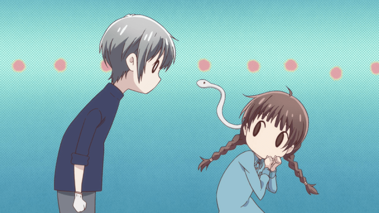 Chibi-fied Fruits Basket art or Yuki looking deadpan as Ayame the snake pokes out of Tohru's collar