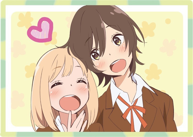 Kase and yamada leaning against each other and smiling, with a heart above their heads