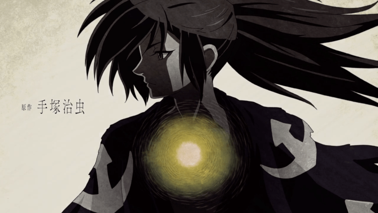 Hyakkimaru in greyscale, with a golden glow in his chest
