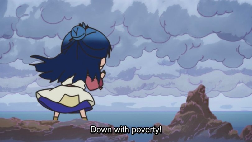 Main screaming toward the sea in chibi form. subtitle: Down with poverty!