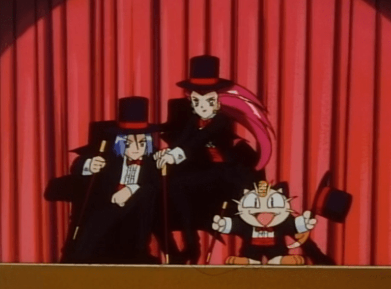 Team Rocket wearing matching tuxedos, tophats, and holding canes, strike a pose in front of a curtain