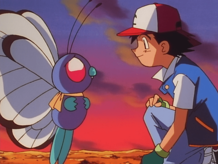 Ash faces Butterfree, both smiling sadly.