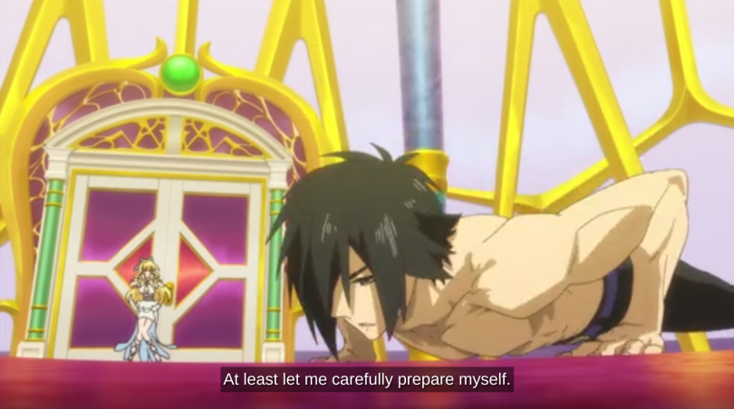 "Seiya doing push-ups in an opulent chamber, with Rista behind him. He says ""At least let me carefully prepare myself."""