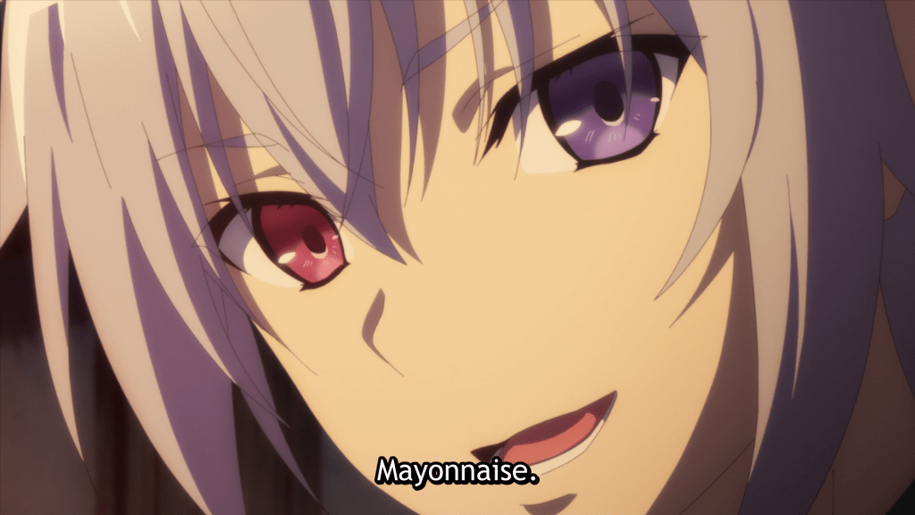 """A boy with multicolored eyes smiles slightly and says """"Mayonnaise."""""""