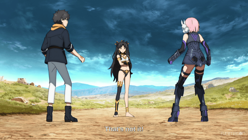 """A young woman in an armored bikini stands between two people in futuristic clothes. Subtitles read """"That's not it!"""""""