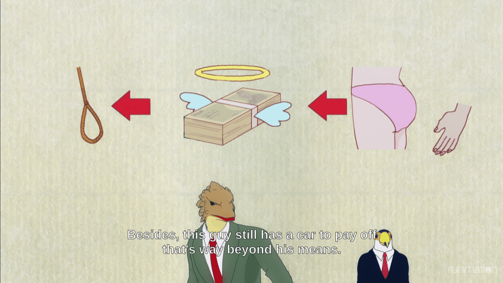 "A pictograph of a hand touching a button, then an arrow pointing to money with angel wings, then an arrow pointing to a noose. Below this are Toucan and Lizard. Subtitles  read ""Besides, this guy still has a car to pay off that's way beyond his means."""