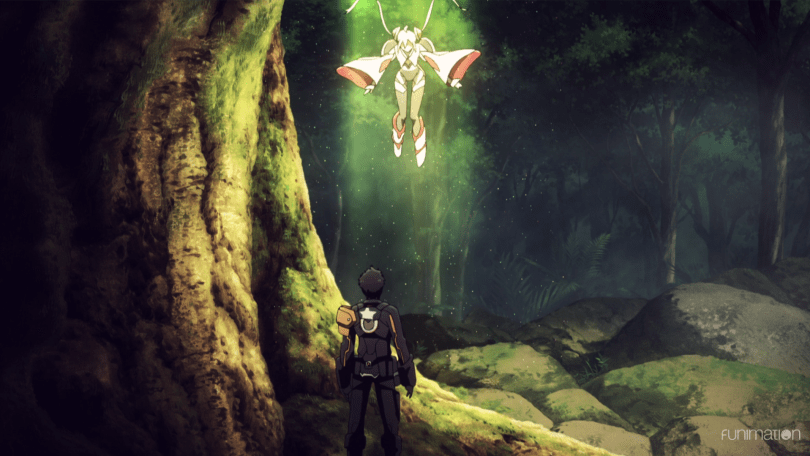 In a forest, a girl in a fantasy space outfit falls from the sky while a young man in a military uniform watches.